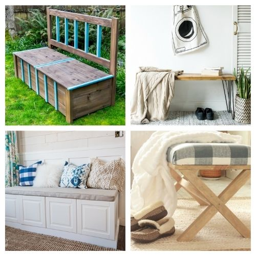 16 Beautiful Homemade Benches- You're not going to want to miss these beautiful homemade DIY benches! They are easy to make and would look beautiful in any home! | #diyProjects #diy #diyFurniture #diyBenches #ACultivatedNest