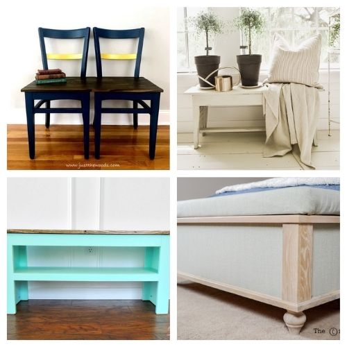 16 Beautiful DIY Bench Tutorials- You're not going to want to miss these beautiful homemade DIY benches! They are easy to make and would look beautiful in any home! | #diyProjects #diy #diyFurniture #diyBenches #ACultivatedNest