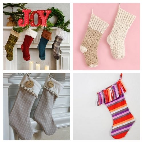 20 Jolly Homemade Christmas Stockings- These jolly DIY Christmas stockings are great for sewing beginners and will add a festive charm to your home for the holidays! | #Christmas #sewingProjects #ChristmasDIY #ChristmasStockings #ACultivatedNest