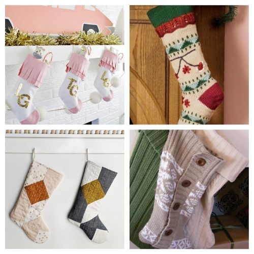 20 Jolly Christmas Stockings DIY Projects- These jolly DIY Christmas stockings are great for sewing beginners and will add a festive charm to your home for the holidays! | #Christmas #sewingProjects #ChristmasDIY #ChristmasStockings #ACultivatedNest