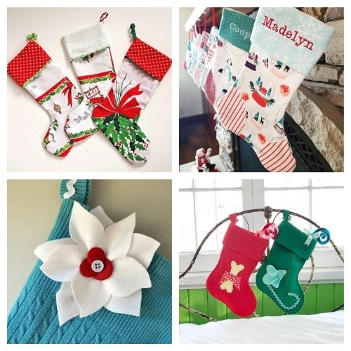 20 Jolly Christmas Stockings Crafts- These jolly DIY Christmas stockings are great for sewing beginners and will add a festive charm to your home for the holidays! | #Christmas #sewingProjects #ChristmasDIY #ChristmasStockings #ACultivatedNest