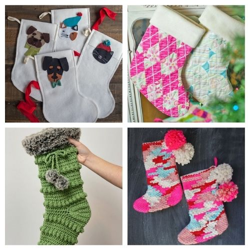 20 Jolly Handmade Christmas Stockings- These jolly DIY Christmas stockings are great for sewing beginners and will add a festive charm to your home for the holidays! | #Christmas #sewingProjects #ChristmasDIY #ChristmasStockings #ACultivatedNest