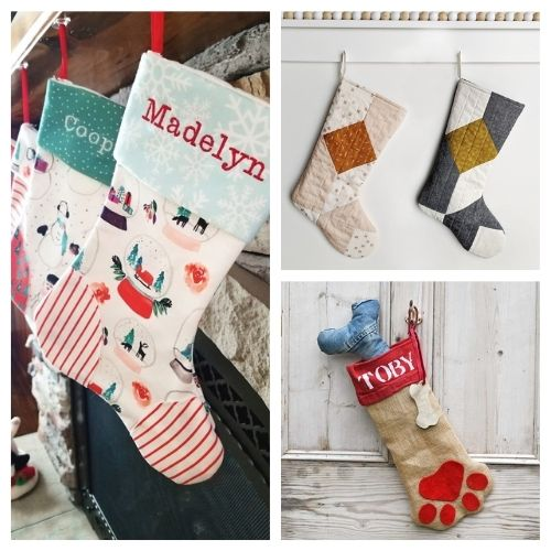20 Jolly DIY Christmas Stockings- These jolly DIY Christmas stockings are great for sewing beginners and will add a festive charm to your home for the holidays! | #Christmas #sewingProjects #ChristmasDIY #ChristmasStockings #ACultivatedNest