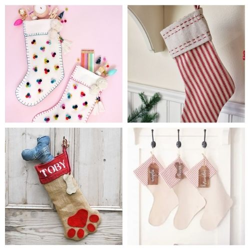 20 Jolly Christmas Stockings DIYs- These jolly DIY Christmas stockings are great for sewing beginners and will add a festive charm to your home for the holidays! | #Christmas #sewingProjects #ChristmasDIY #ChristmasStockings #ACultivatedNest
