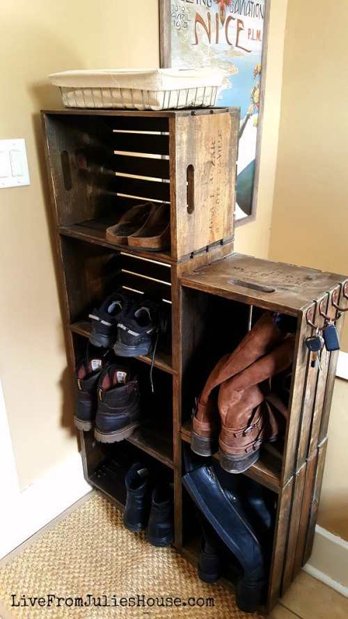 10 Genius DIY Shoe Organizing Solutions- Get rid of the shoe chaos and use these genius DIY shoe storage solutions instead! They're the perfect way to get your shoes organized! | #organization #organizingTips #shoeOrganization #DIY #ACultivatedNest