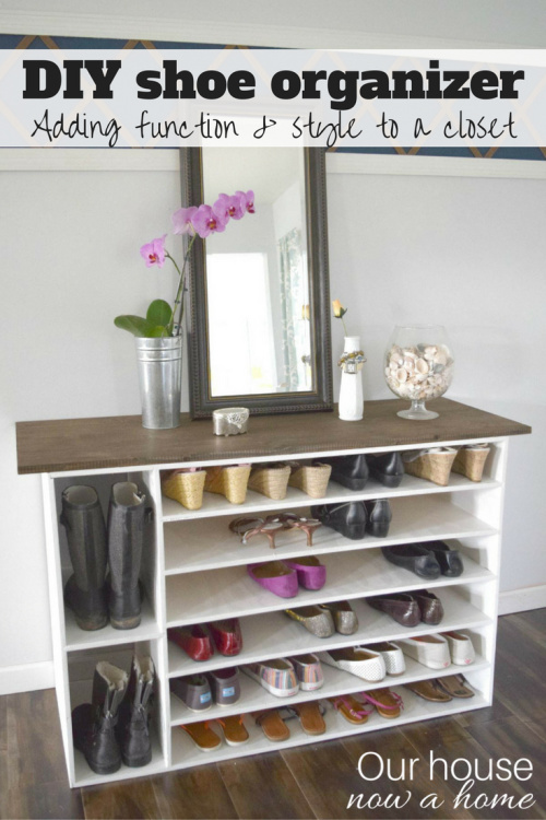 10 Genius DIY Shoe Organization Solutions- Get rid of the shoe chaos and use these genius DIY shoe storage solutions instead! They're the perfect way to get your shoes organized! | #organization #organizingTips #shoeOrganization #DIY #ACultivatedNest