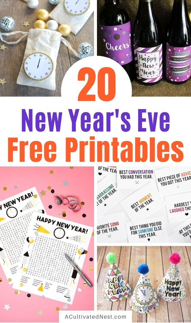 20 Brilliant New Year's Eve Free Printables- Use the free New Year's Eve printables to celebrate in style as you get ready for the new year! There are so many fun New Year's Eve activities and décor items that you can print! | #NewYearsEve #freePrintables #printables #NewYear #ACultivatedNest