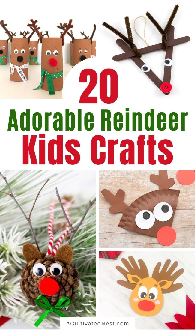 20 Christmas Reindeer Kids Crafts- Your kids will love doing these Christmas reindeer kids crafts this holiday season! They're a great way for them to be creative during their Christmas break! | #Christmas #kidsActivities #kidsCrafts #ChristmasKidsCrafts #ACultivatedNest
