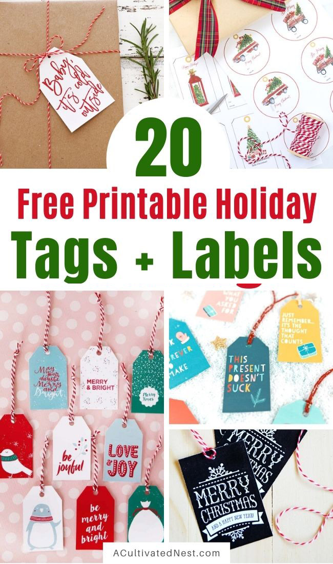 20 Free Printable Christmas Tags and Labels- If you want to add a special touch to your Christmas gifts this year, print some of these 20 free printable Christmas tags and labels! They'll make your gifts look extra special! | #freePrintables #printable #printableTags #Christmas #ACultivatedNest