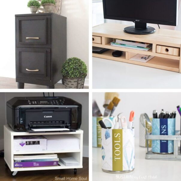 20 DIY Office Organizing Ideas- It's much easier to have a productive day if your space is organized! For some great ideas, check out these DIY office organizing solutions! | #organizingTips #officeOrganization #organization #organize #ACultivatedNest