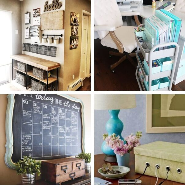 20 Home Office DIY Organizing Solutions- It's much easier to have a productive day if your space is organized! For some great ideas, check out these DIY office organizing solutions! | #organizingTips #officeOrganization #organization #organize #ACultivatedNest