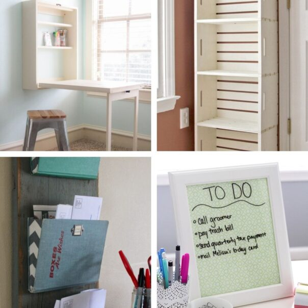 20 DIY Home Office Organizers- It's much easier to have a productive day if your space is organized! For some great ideas, check out these DIY office organizing solutions! | #organizingTips #officeOrganization #organization #organize #ACultivatedNest