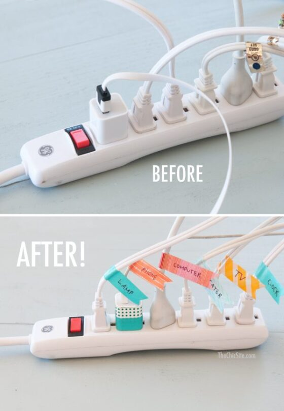10 Clever Cord and Wire DIY Organizers- If you need some clever cord wrangling organization ideas, check out these genius ways to organize cords and wires! | #organization #organizingTips #homeOrganization #cordOrganization #ACultivatedNest