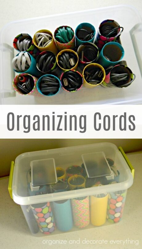 10 Clever Cord and Wire Organization Ideas- If you need some clever cord wrangling organization ideas, check out these genius ways to organize cords and wires! | #organization #organizingTips #homeOrganization #cordOrganization #ACultivatedNest