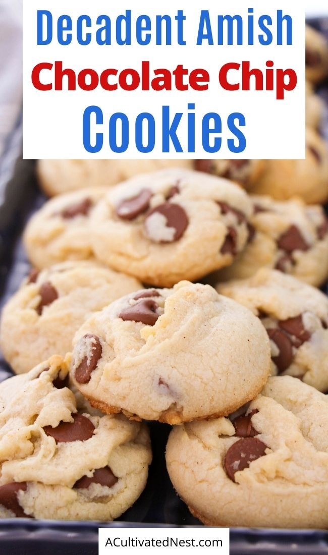 Decadent Amish Chocolate Chip Cookies- If you want a delicious cookie, then you have to make these decadent Amish chocolate chip cookies! They're fluffy, chewy, and utterly irresistible! | #desserts #cookieRecipes #dessertRecipes #cookies #ACultivatedNest