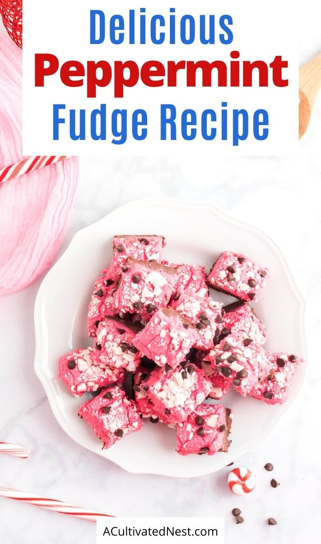 Delicious Homemade Peppermint Fudge- The delicious combo of peppermint and chocolate in this homemade peppermint fudge is sure to make it a family favorite! It also is a lovely homemade food gift! | homemade food gift, Christmas dessert ideas, homemade fudge recipe, #ChristmasRecipes #desserts #recipes #chocolateRecipes #ACultivatedNest