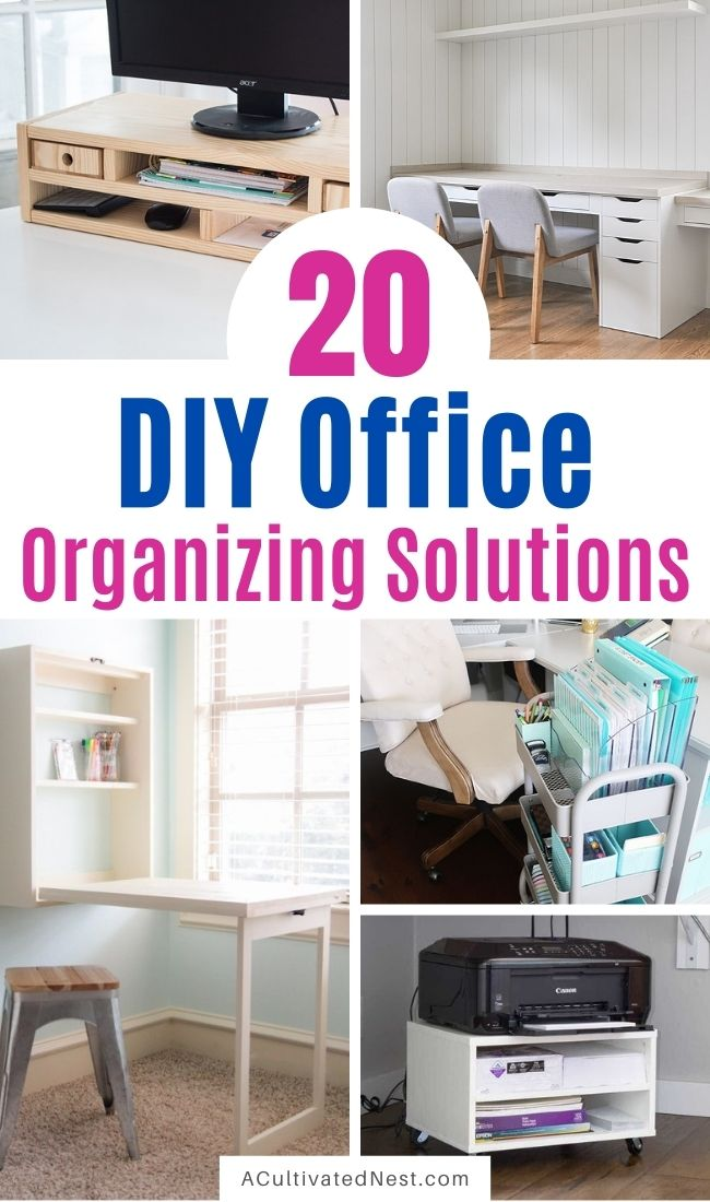 20 DIY Office Organizing Solutions- Whether you're working from home or managing your family's finances, it's easier to be productive if your home office is organized! For some great inspiration, check out these DIY office organizing solutions! | #officeOrganization #organization #organizing #organizingTips #ACultivatedNest
