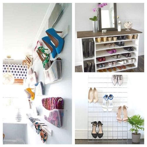 10 Genius DIY Shoe Storage Solutions- Get rid of the shoe chaos and use these genius DIY shoe storage solutions instead! They're the perfect way to get your shoes organized! | #organization #organizingTips #shoeOrganization #DIY #ACultivatedNest
