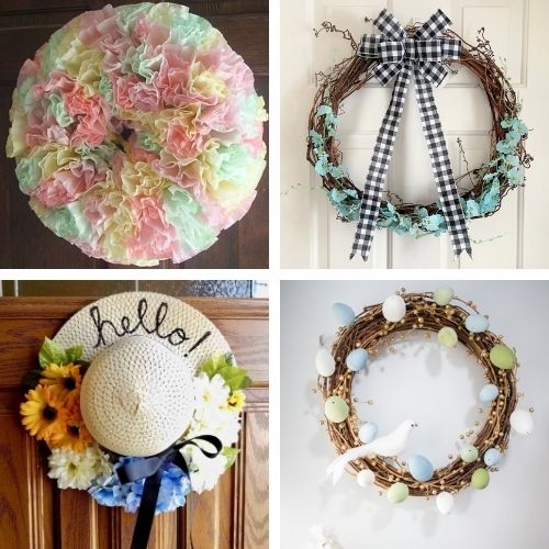 20 Beautiful Dollar Store Spring Wreath DIYs- Decorate your home for spring on a budget with these beautiful dollar store DIY spring wreaths! They're easy to make, and look beautiful! | #springDecor #diyProjects #diyWreaths #wreaths #ACultivatedNest