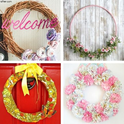 20 Beautiful Dollar Store Spring Wreath Crafts- Decorate your home for spring on a budget with these beautiful dollar store DIY spring wreaths! They're easy to make, and look beautiful! | #springDecor #diyProjects #diyWreaths #wreaths #ACultivatedNest