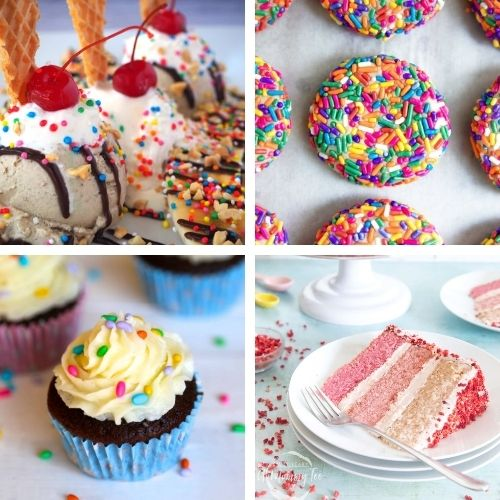 24 Colorful Birthday Recipe Ideas- Make the next birthday you bake for even more special with some of these fun birthday dessert recipes! They're all so tasty! | #dessertRecipes #birthdayRecipes #birthdayDessert #cupcakeRecipes #ACultivatedNest