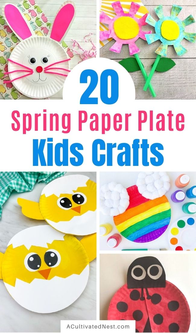 20 Cute Spring Paper Plate Kids Crafts- Keep your kids busy this spring with these frugal and fun spring paper plate kids crafts! There are so many cute spring crafts for them to do on rainy days! | #paperPlateCrafts #kidsCrafts #kidsActivities #kidsActivity #ACultivatedNest