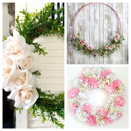 20 Beautiful Dollar Store DIY Spring Wreaths- Decorate your home for spring on a budget with these beautiful dollar store DIY spring wreaths! They're easy to make, and look beautiful! | #springDecor #diyProjects #diyWreaths #wreaths #ACultivatedNest