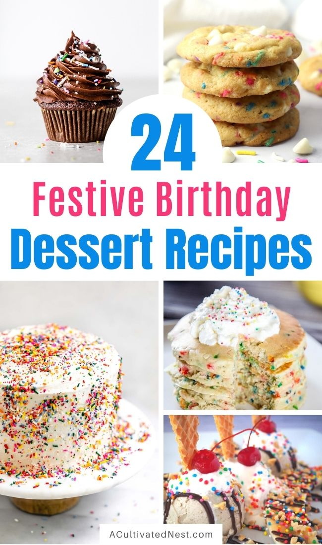 24 Fun Birthday Dessert Recipes- To make the next birthday you bake for even more special, make some of these fun birthday dessert recipes! There are so many colorful and delicious treats you can make! | #desserts #birthdayRecipes #birthdayDessert #birthdayIdeas #ACultivatedNest