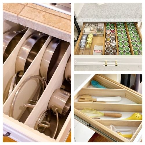 12 Space Saving Kitchen Drawer Organization Ideas- If you want to be able to find things fast in your kitchen, you need to check out these space saving kitchen drawer organization ideas! | #organizingTips #homeOrganization #kitchenOrganization #organizing #ACultivatedNest