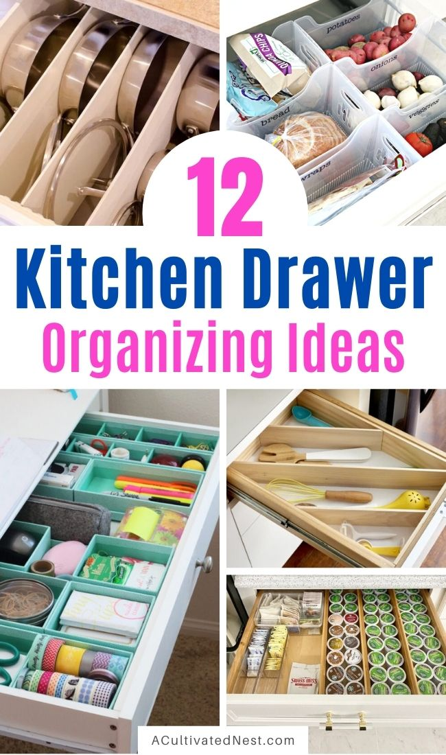 12 Space Saving Kitchen Drawer Organization Ideas- It'll be so much easier to find things fast in your kitchen when you use these space saving kitchen drawer organization tips! | #organization #homeOrganization #kitchenOrganization #organize #ACultivatedNest