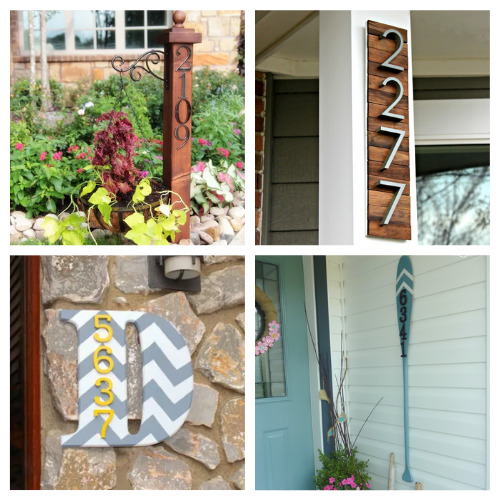 12 House Number DIY Projects- These DIY house number projects are great spring and summer projects to add curb appeal! And they're so easy to make, too! | outdoor décor DIYs, #DIY #houseNumbers #diyProjects #outdoorDIYs #ACultivatedNest