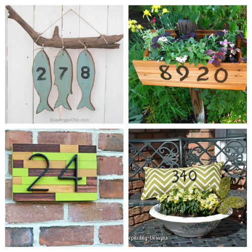 12 Gorgeous Homemade House Numbers- These DIY house number projects are great spring and summer projects to add curb appeal! And they're so easy to make, too! | outdoor décor DIYs, #DIY #houseNumbers #diyProjects #outdoorDIYs #ACultivatedNest