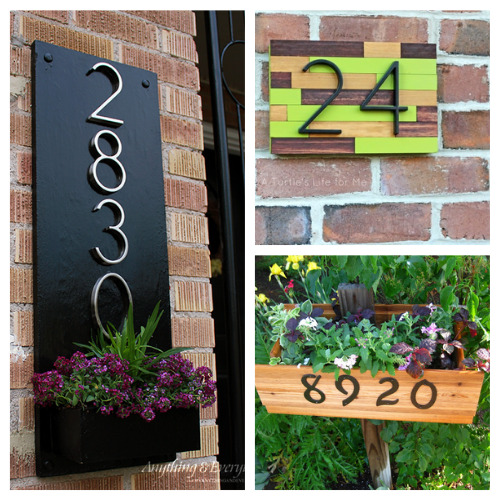 12 DIY House Number Projects- These DIY house number projects are great spring and summer projects to add curb appeal! And they're so easy to make, too! | outdoor décor DIYs, #DIY #houseNumbers #diyProjects #outdoorDIYs #ACultivatedNest