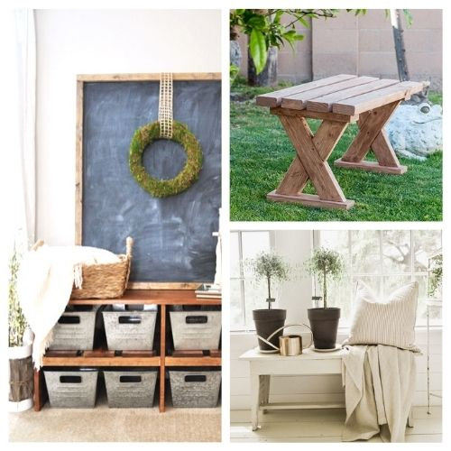 16 Beautiful Homemade DIY Benches- You're not going to want to miss these beautiful homemade DIY benches! They are easy to make and would look beautiful in any home! | #diyProjects #diy #diyFurniture #diyBenches #ACultivatedNest
