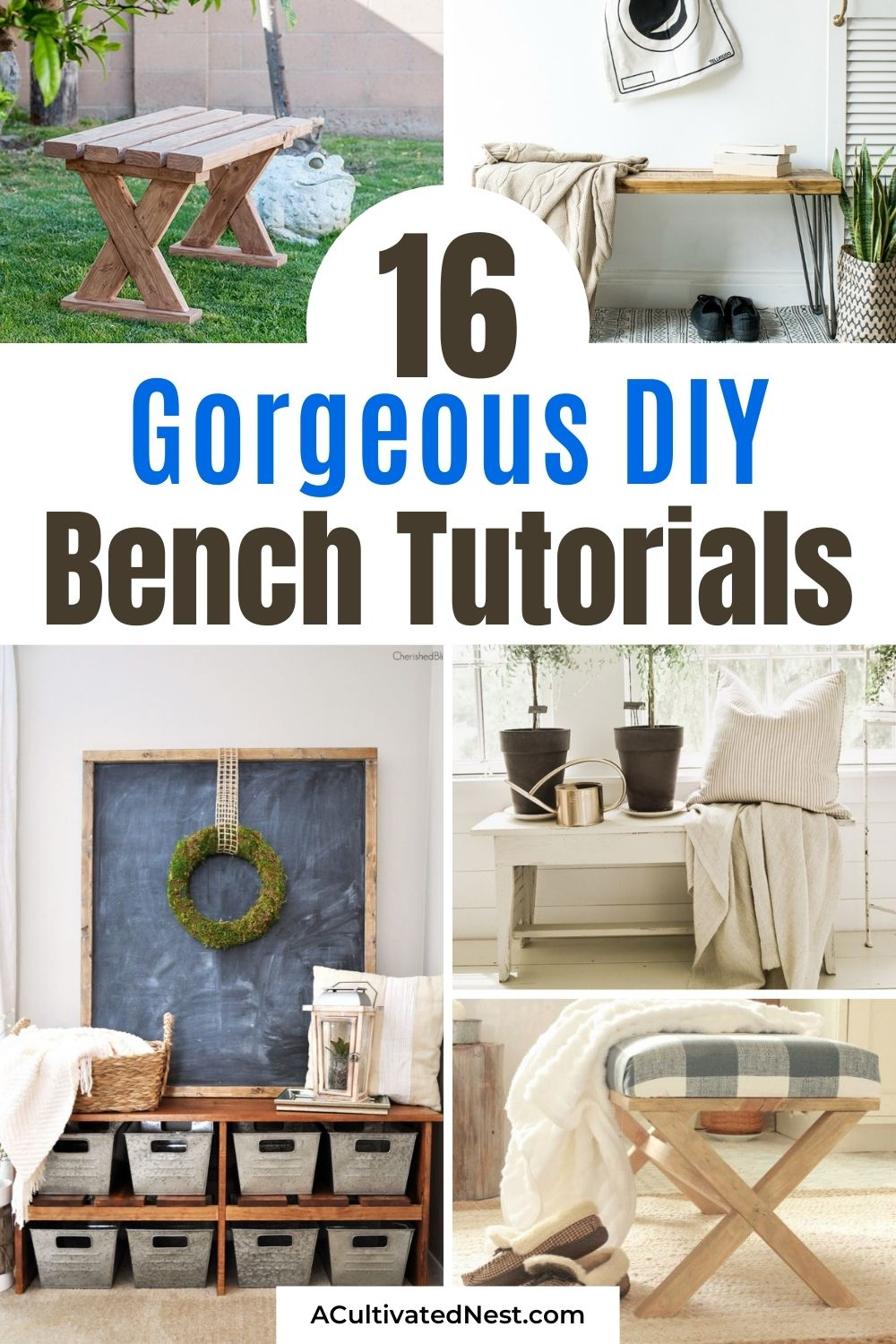 16 Beautiful Homemade DIY Benches- These beautiful homemade DIY benches are easy to make and would look beautiful in any home! They're a great way to update your home's décor on a budget! | #diyProjects #diy #homemadeFurniture #diyBench #ACultivatedNest