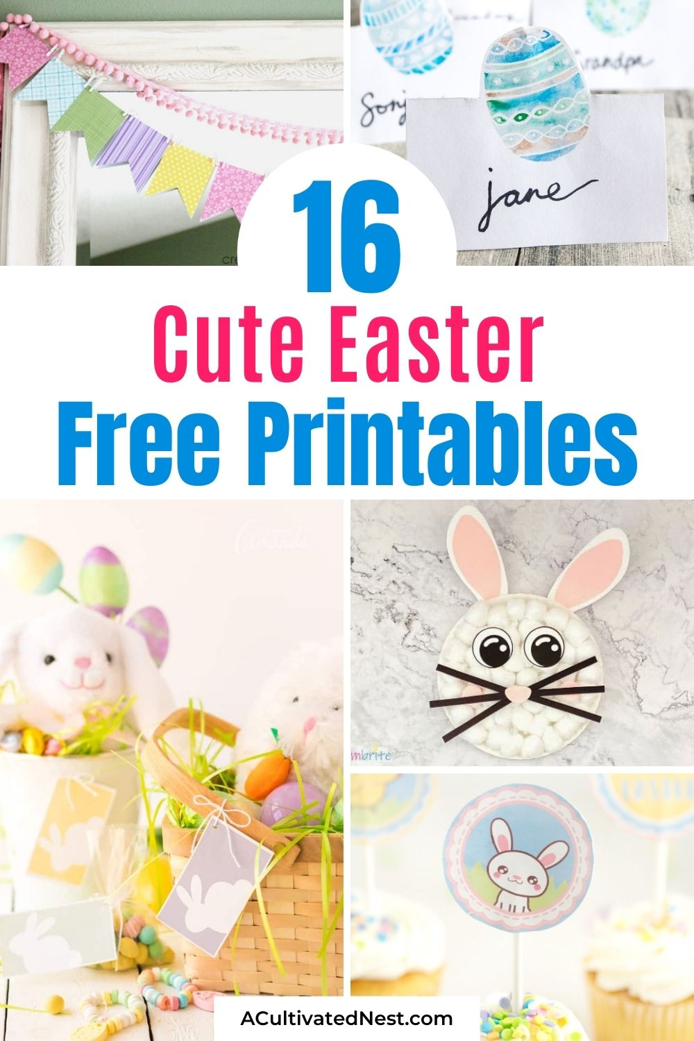 16 Cute Free Easter Printables- These fun Easter free printables include crafts and printable décor that will help you to decorate for Easter on a budget! Some fun kids' crafts are also included! | #EasterPrintables #freePrintables #kidsActivities #printables #ACultivatedNest