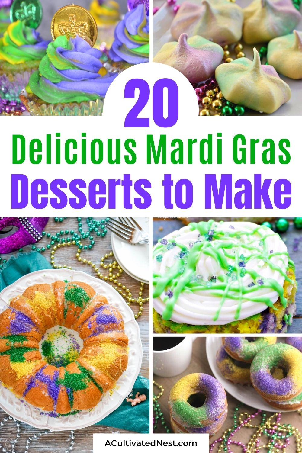 20 Festive Mardi Gras Dessert Recipes- Make your Mardi Gras celebration even more fun with some of these delicious Mardi Gras dessert recipes! They're so colorful, and so tasty! | #MardiGras #MardiGrasDesserts #MardiGrasFood #dessertRecipes #ACultivatedNest
