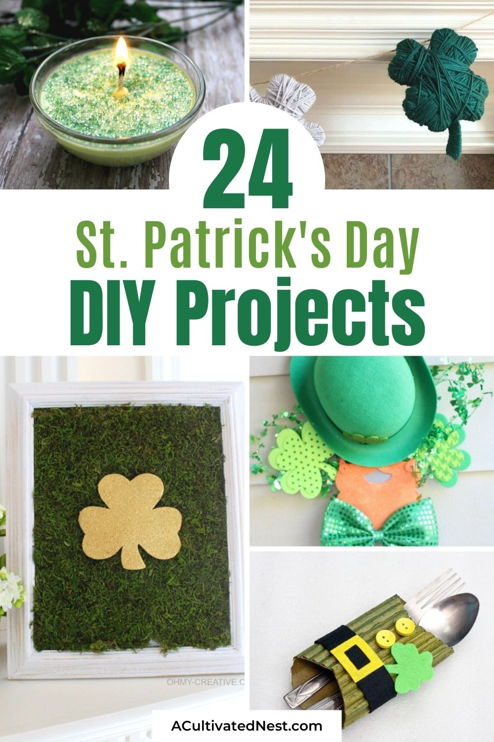 24 Fun St. Patrick's Day Crafts for Adults and Kids- This year, decorate your home for St. Paddy's Day on a budget with these 24 fun St. Patrick's Day crafts for adults and kids! | #DIY #StPatricksDay #SaintPatricksDayDecor #crafts #ACultivatedNest
