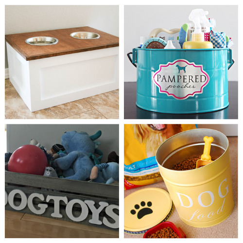 16 Brilliant DIY Pet Organizers- If you're tired of your furbaby's stuff being everywhere, then you need to check out these cute and clever DIY pet organizing solutions! | organize dog toys, organize cat treats, organize pet supplies, #organizingTips #pets #petOrganization #diyOrganizers #ACultivatedNest