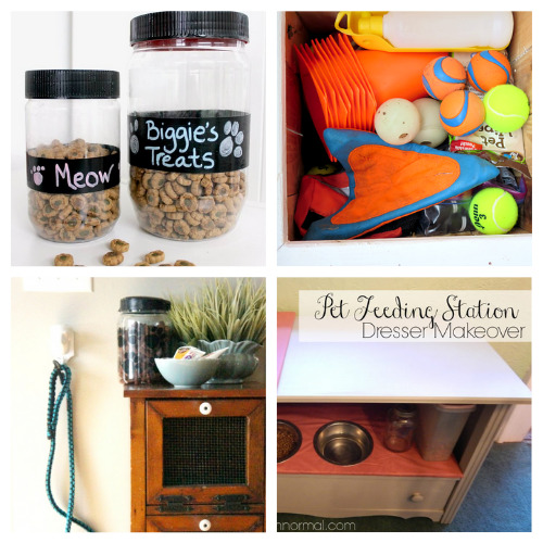 16 Brilliant Cat and Dog DIY Organization Ideas- If you're tired of your furbaby's stuff being everywhere, then you need to check out these cute and clever DIY pet organizing solutions! | organize dog toys, organize cat treats, organize pet supplies, #organizingTips #pets #petOrganization #diyOrganizers #ACultivatedNest