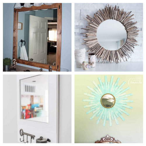 20 Fantastic Homemade Mirror Frame Ideas- These 20 fantastic DIY mirror frame ideas are great for your bathroom, office, or any other space that could use a facelift! | #DIY #diyProjects #diyMirrors #diyDecor #ACultivatedNest