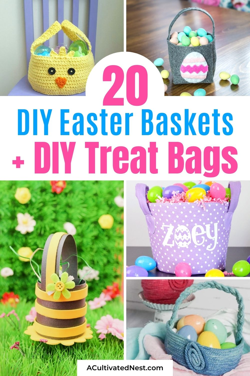 20 DIY Easter Baskets and Treat Bags- This year, make your kids' Easter even more special with some DIY Easter baskets and treat bags! There are so many cute possibilities, and they're all so easy to make! | homemade Easter baskets, how to make your own Easter treat bags, Easter DIYs, #diyEaster #Easter #EasterBasketDIY #EasterCrafts #ACultivatedNest