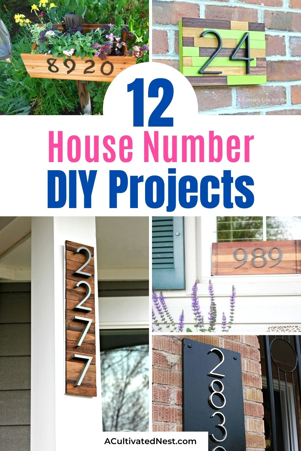 12 DIY House Number Projects- If you want to freshen up the outside of your home, you should try one of these DIY house number projects! They're great spring and summer projects to add curb appeal! | outdoor décor DIYs, #outdoorDecor #diyHouseNumbers #diyProjects #outdoorDIYs #ACultivatedNest