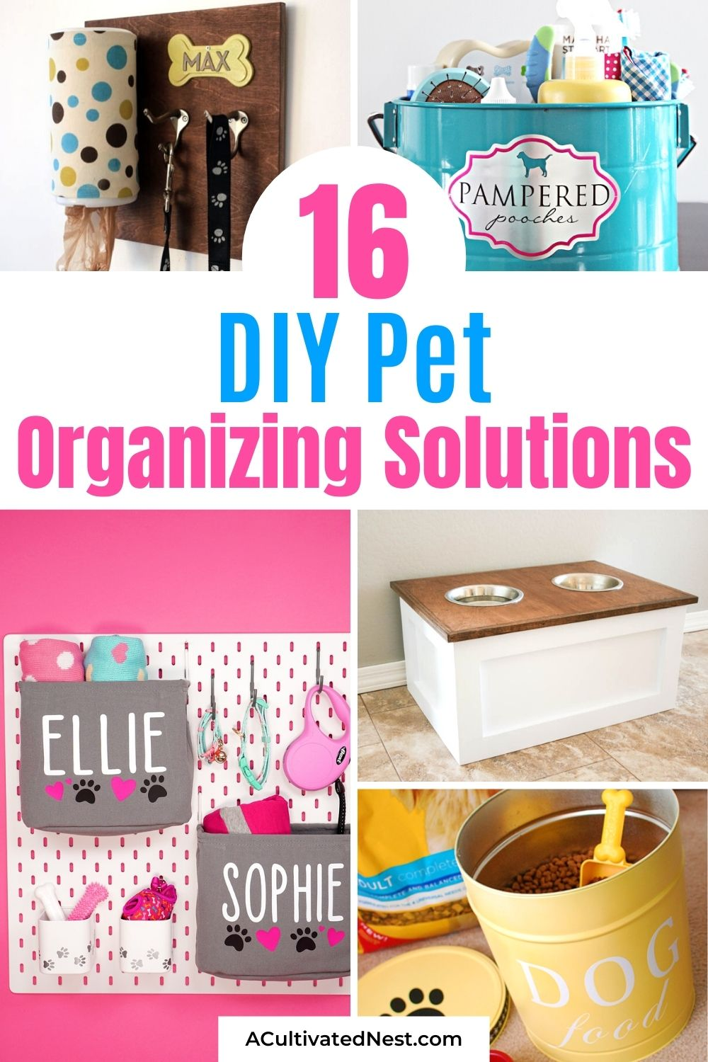16 Brilliant DIY Pet Organizing Solutions- If your dog or cat's stuff is all over your home, you need these cute and clever DIY pet organizing solutions! There are so many easy ways to get your pets organized! | organize dog toys, organize cat treats, organize pet supplies, #organizing #diyOrganization #petOrganization #diyOrganizers #ACultivatedNest