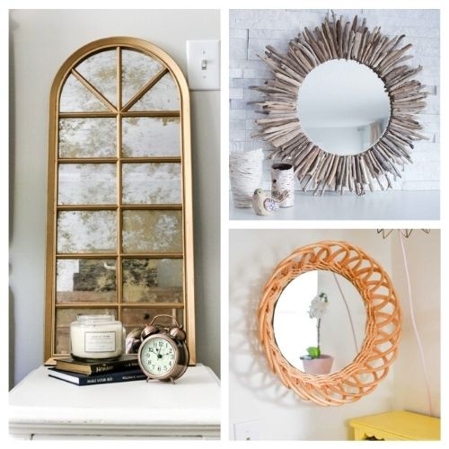 20 Fantastic DIY Mirror Frame Ideas- These 20 fantastic DIY mirror frame ideas are great for your bathroom, office, or any other space that could use a facelift! | #DIY #diyProjects #diyMirrors #diyDecor #ACultivatedNest