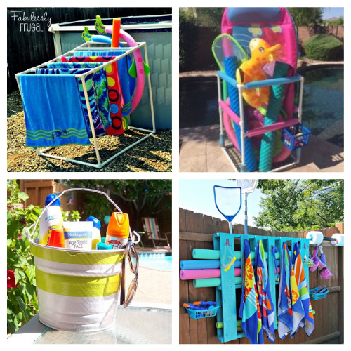 12 Clever DIY Pool Supply Organizers- These clever DIY pool organizers will have your yard ready for swimming season and summer guests in no time! | summer organizing tips, how to organize pool toys, #organizingTips #diyOrganizers #organization #poolOrganization #ACultivatedNest