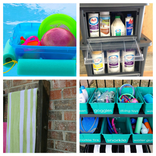 12 Pool Supply DIY Organizers- These clever DIY pool organizers will have your yard ready for swimming season and summer guests in no time! | summer organizing tips, how to organize pool toys, #organizingTips #diyOrganizers #organization #poolOrganization #ACultivatedNest