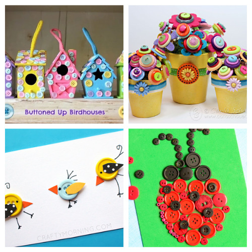 20 Kids Button Crafts for Summer- These summer button crafts for kids will keep them busy and entertained! Plus, they're a very inexpensive way to keep the kids busy! | #kidsCrafts #summerCrafts #buttonCrafts #kidsActivities #ACultivatedNest