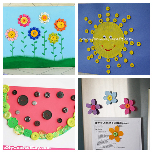 20 Summer Kids Button Crafts- These summer button crafts for kids will keep them busy and entertained! Plus, they're a very inexpensive way to keep the kids busy! | #kidsCrafts #summerCrafts #buttonCrafts #kidsActivities #ACultivatedNest
