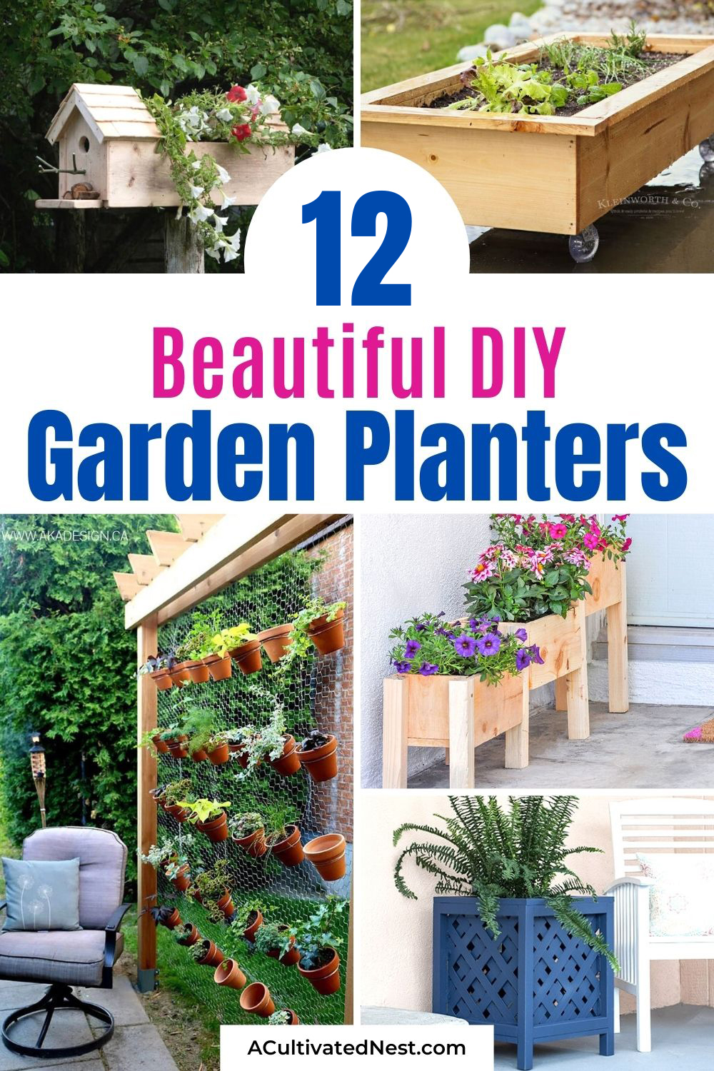 12 Easy DIY Garden Planters- If you want to make your outdoor space more beautiful, then you need to take a look at these 12 easy DIY garden planters! They're perfect for flowers, herbs, or pretty much any plants! | #diyPlanters #diyProjects #gardeningTips #gardenDIY #ACultivatedNest